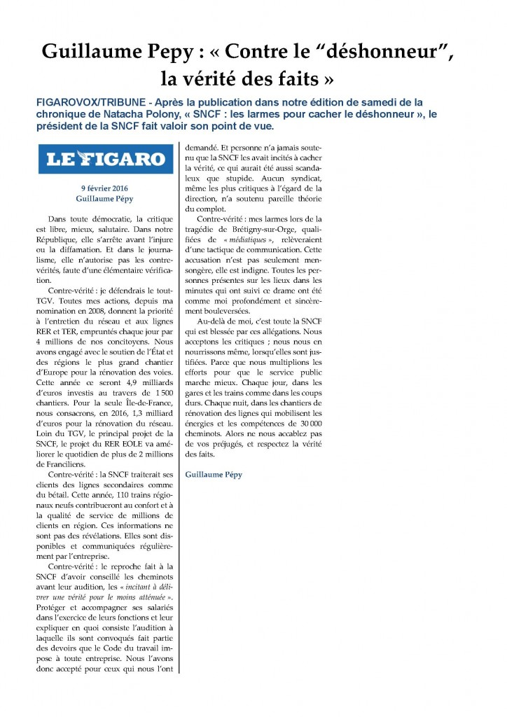 """INF_PSL_5 - Guillaume Pepy,  « Contre le """"déshonneur"""", la vérité des faits »"""